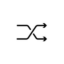 Shuffle Icon, Random Sign, Randomize Simple Thin Line Icon, Linear Pictogram
