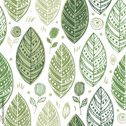 Decorative ornamental endless elegant texture with leaves,  summer leaf backgrou Tablou Canvas