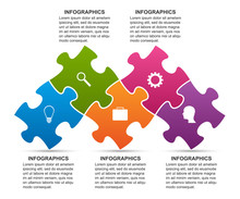 Infographics Template With Puzzle Piece. Infographics For Business Presentations Or Information Banner.