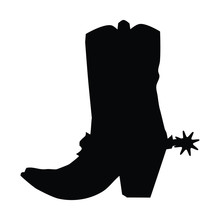 A Black And White Vector Silhouette Of A Cowboy Boot