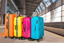 Luggage Bags On Background, Tr...