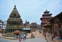 KATHMANDU, NEPAL - OCTOBER 10, 2016 - Beautiful View Of The Patan Durbar Square In Lalitpur, Kathmandu, Nepal