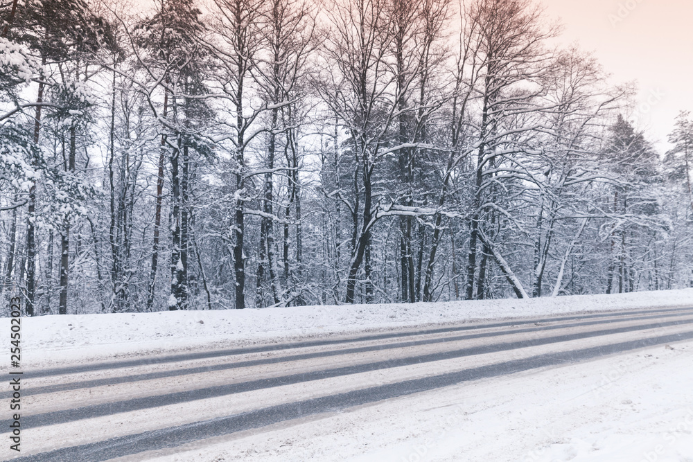 Fototapeta Winter landscape with an empty highway