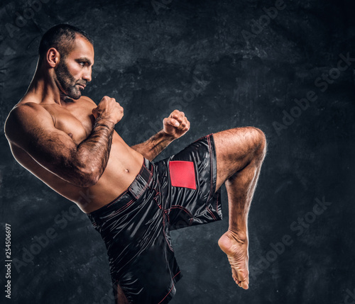 Professional Muay Thai boxer showing kick fighting technique Canvas-taulu