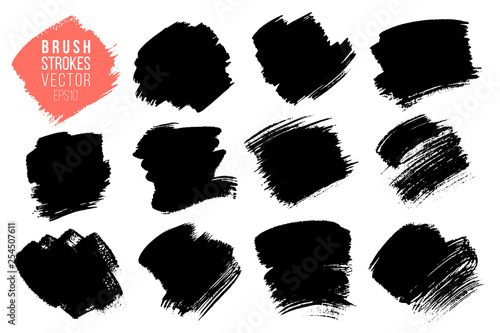 Cuadros en Lienzo Vector set of big hand drawn brush strokes, stains for backdrops