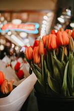 Orange Tulip Flowers Shallow Focus Photography