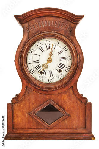 Wooden ancient clock isolated on white Canvas Print