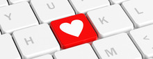 Love, Health. Red Key Button With Heart Sign On A Computer Keyboard, Banner. 3d Illustration