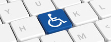 Disability, Handicapped. Blue Key Button With Wheelchair Sign On A Computer Keyboard, Banner. 3d Illustration