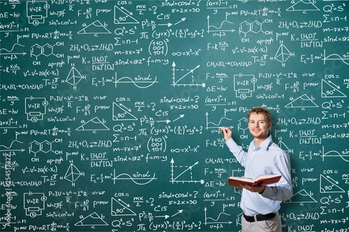 Photo  Albert einstein algebra background blackboard board business calculations