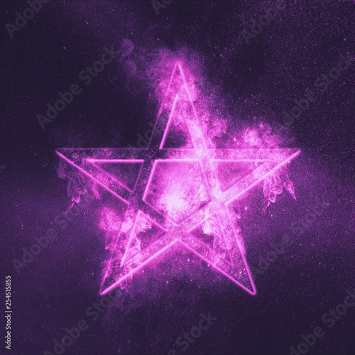 Pentagram symbol. Abstract night sky background. Canvas Print