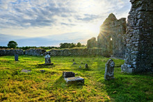 Sun Setting Over Old Ruins Of ...