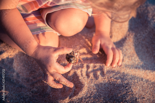 Fotografía  Curious child toddler playing on beach with hermit crab during summer vacation c