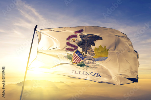 Obraz na plátně Illinois state of United States flag waving on the top sunrise mist fog