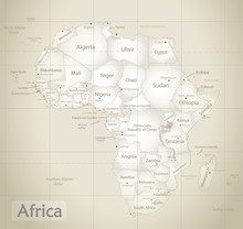 Africa Map Ancient, New Political Detailed Map, Separate Individual States, With State City And Sea Names, Old Paper Background Vector