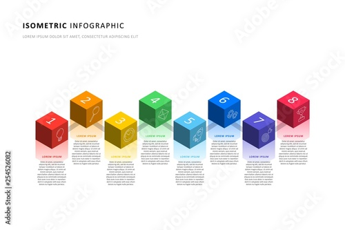 isometric infographic timeline template with realistic 3d cubic