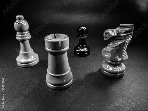 Chess pieces that simulate a bullying situation Canvas Print