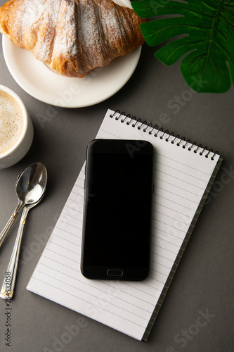 Fotografia, Obraz  Delicious breakfast coffee with croissant