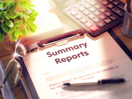 Fotografie, Obraz  Summary Reports - Text on Clipboard. 3D Render.