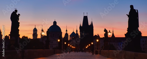 Prague at night, panoramic image Canvas Print