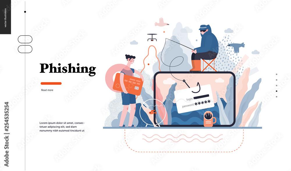 Fototapeta Technology 3 - Phishing - flat vector concept digital illustration of phishing scam metaphor. Hacker fraud protection, password steal, data phishing. Creative landing web page design template