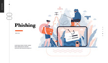 Technology 3 - Phishing - Flat Vector Concept Digital Illustration Of Phishing Scam Metaphor. Hacker Fraud Protection, Password Steal, Data Phishing. Creative Landing Web Page Design Template