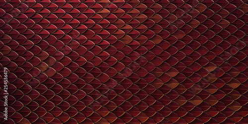Fototapeta red and gold dragon reptile fish snake skales pattern backround
