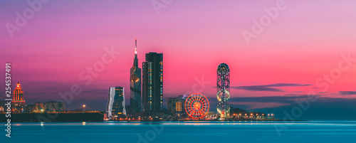 Batumi, Adjara, Georgia. Panorama of Illuminated Resort Town at Sunset - 254537491