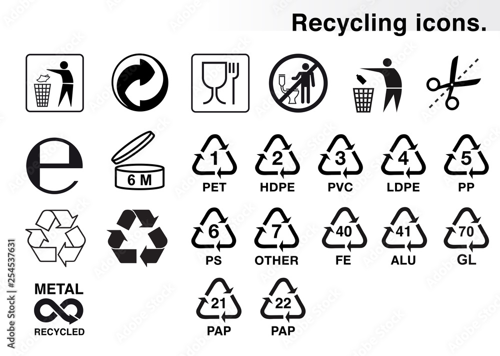 Fototapety, obrazy: Set of icons for packaging and recycling. Vector elements. Ready for use in your design. EPS10