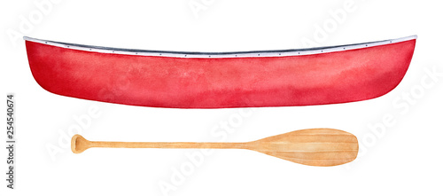 Fotografia Red canoe and light brown paddle watercolor illustration set