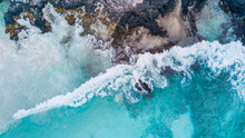 HAWAII, USA: Drone Shot Of Turquoise Sea Beach In Kua Bay, Big Island