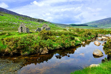 Ruined Mining Building Along A Picturesque Creek In The Hills Of Wicklow Mountains National Park, Ireland