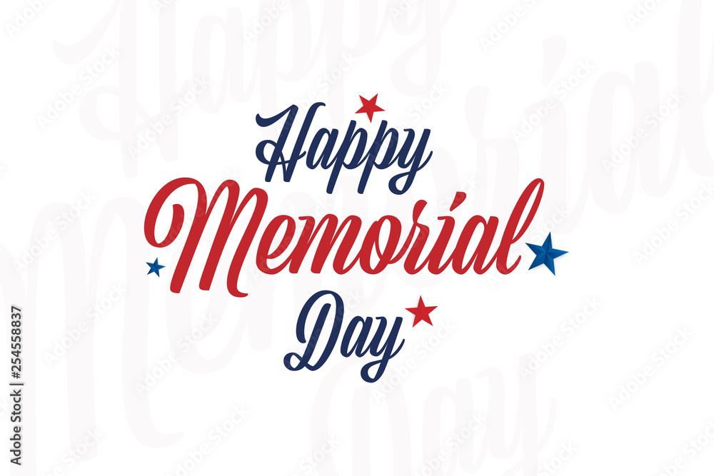 Fototapety, obrazy: Happy memorial day. Greeting card with stars. National American holiday event. Flat Vector illustration EPS10