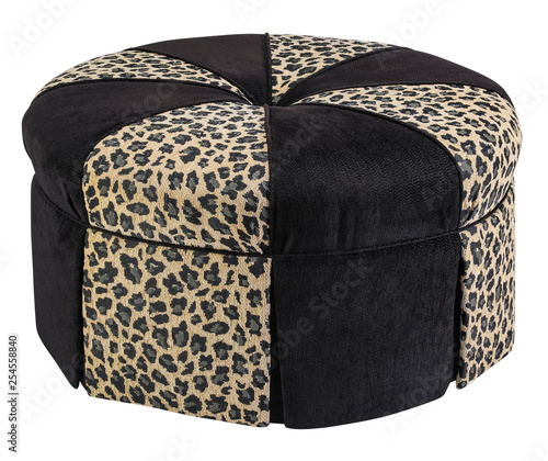 Fotografia  Ottoman foot stool animal fabric with clipping path.