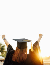 University Graduate Celebrate After Receiving Degree. Graduate Celebration