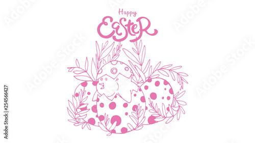 Fototapeta Vector illustration. Happy Easter Hand drawn elegant modern colorful lettering isolated on background. - Vector obraz na płótnie