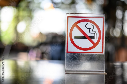 No smoking sign on wooden table in coffee shop Don't smoking place in public Canvas Print