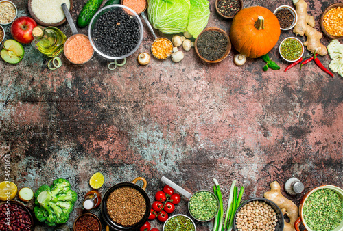 Aluminium Prints Healthy food. Assortment of Fruits and vegetables with legumes.