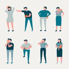 Character Set Of Various Pain Symptoms. Flat Design Style Minimal Vector Illustration