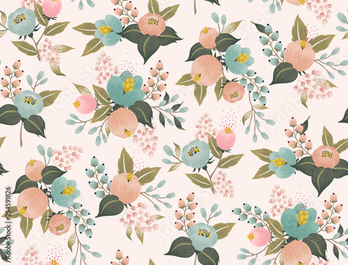 fototapeta na ścianę Vector illustration of a seamless floral pattern with spring flowers. Lovely floral background in sweet colors