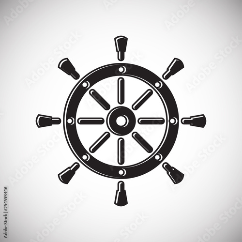 Fotografía  Ship steering wheel icon on background for graphic and web design