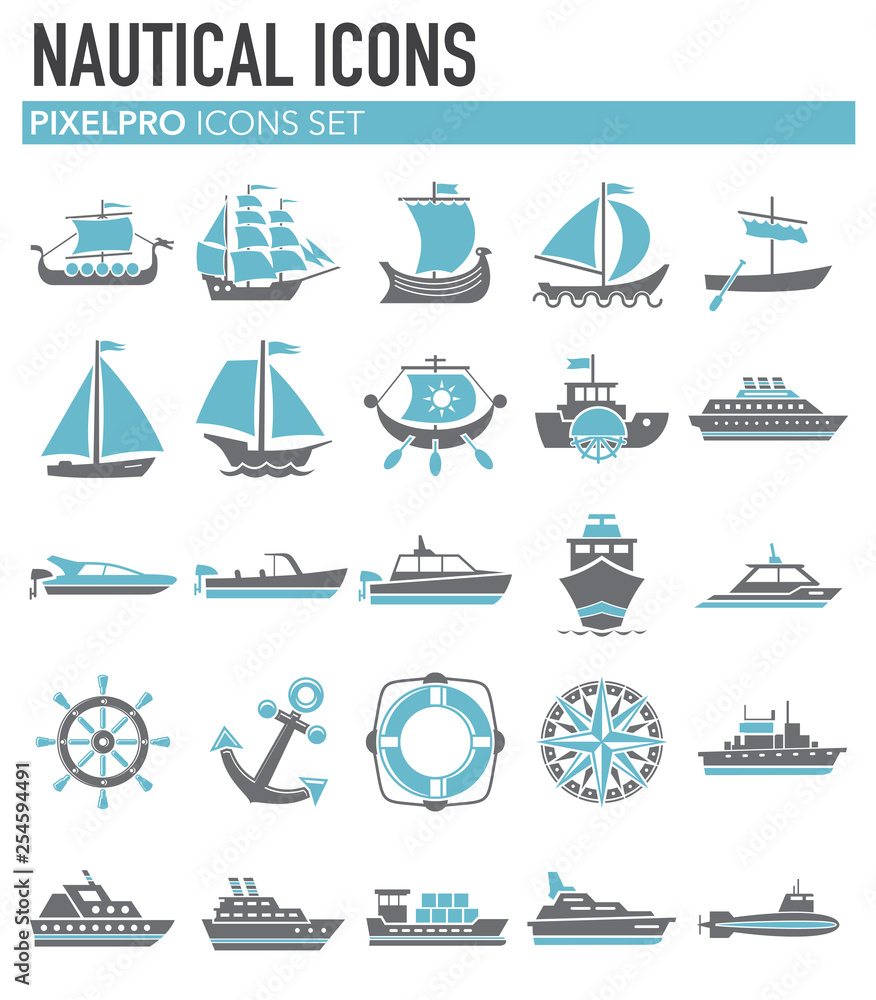 Fotografía Ship icons on white background for graphic and web design