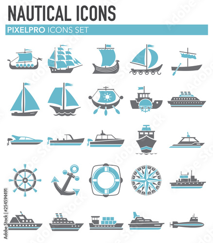 Pinturas sobre lienzo  Ship icons on white background for graphic and web design