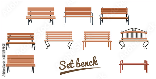 Photo Outdoor wooden benches
