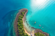 canvas print picture - Amazing island with sand beach green tree forest aerial view
