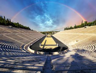 Panathenaic stadium w Ateny z tęczą, Grecja