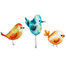 Set With Watercolor Birds