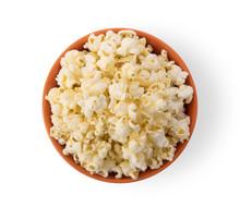 Popcorn In  Orange Bowl Isolated On White Background