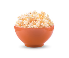 Popcorn In Bowl Isolated On Wh...