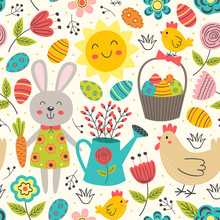 Easter Seamless Pattern With Rabbit And Chicken - Vector Illustration, Eps